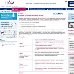 """Programme """"psychiatrie et santé mentale"""" de la HAS"""