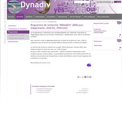 """Dynadiv - Programme de recherche """"PARAADIV"""" (PARcours d'Apprenants, Altérité, DIVersité)"""