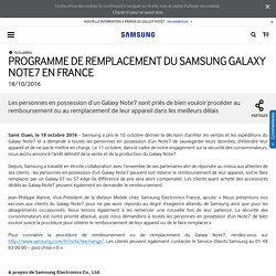 PROGRAMME DE REMPLACEMENT DU SAMSUNG GALAXY NOTE7 EN FRANCE