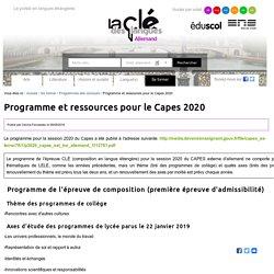 Programme et ressources pour le Capes 2020 — Allemand