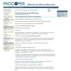Programme & restitution - [PRODOPER ]