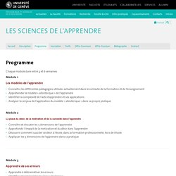 Programme - Les sciences de l'apprendre - UNIGE