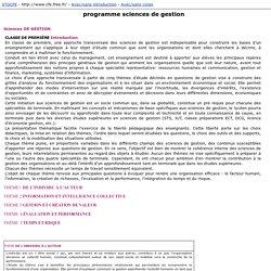 programme sciences de gestion