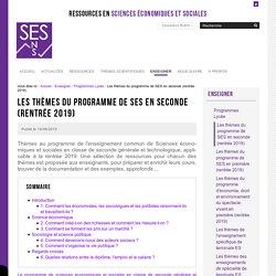 Les thèmes du programme de SES en seconde (rentrée 2019)