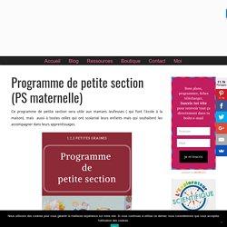 Programme de petite section (PS maternelle) - 1,2,3 petites graines