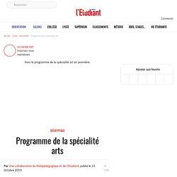 Programme de la spécialité arts