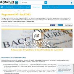 SIG: Le programme de la spécialité de terminale STMG