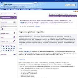 Programme spécifique «Capacités»