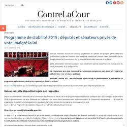 Programme de stabilité : députés et sénateurs privés de vote, malgré la loi