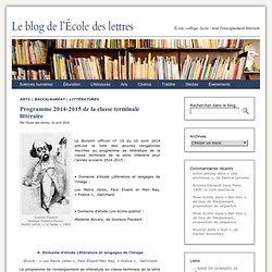 Programme 2014-2015 de la classe terminale littéraire