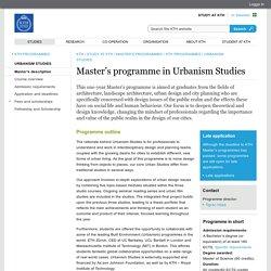 Master's programme in Urbanism Studies