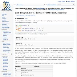 Non-Programmer's Tutorial for Python 2.6/Decisions