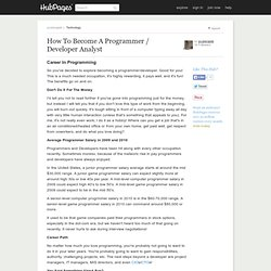 How To Become A Programmer / Developer Analyst