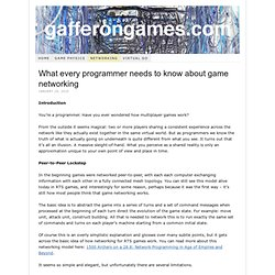 What every programmer needs to know about game networking - gafferongames.com
