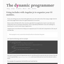 The Dynamic Programmer - Hernan Garcia : Using includes with Angular.js to organize your UI modules.