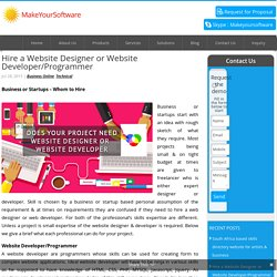 Hire a website designer or developer for your next website project