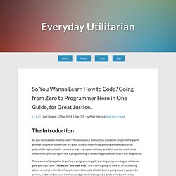 So You Wanna Learn How to Code? Going from Zero to Programmer Hero in One Guide, for Great Justice. – Everyday Utilitarian