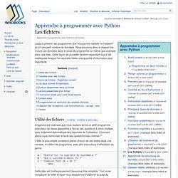 Apprendre à programmer avec Python/Les fichiers