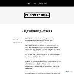 Programmering Lektion 5 – eliseklassrum