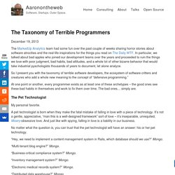 The Taxonomy of Terrible Programmers – Aaronontheweb