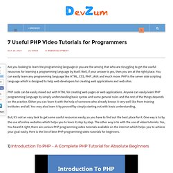 Best Video Tutorials for PHP Programmers