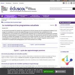 Le numérique dans le premier degré - Le numérique et les programmes actualisés
