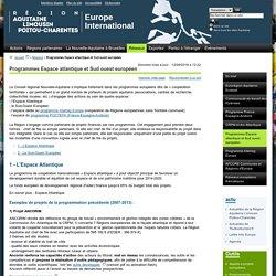 Programmes Espace atlantique et Sud ouest européen