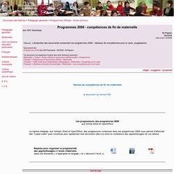 Programmes 2008 - compétences de fin de maternelle - programmes officiels, programmes 2008, compétence, cycle 1, maternelle, socle commun