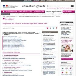 Programmes des concours de recrutement d'enseignants du second degré, de conseillers principaux éducation et de conseillers d'orientation - psychologues - Ministère de l'Éducation nationale, de l'Enseignement supérieur et de la Recherche