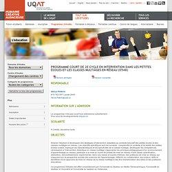 Programme court de 2e cycle en intervention dans les petites écoles et les classes multiâges en réseau (0548)