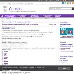 Programmes de l'école et du collège (jusqu'en juin2016) - Langues vivantes étrangères collège