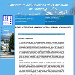 Programmes de recherche du laboratoire des Sciences de l'Education