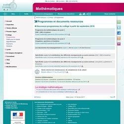Programmes et documents ressources - Mathématiques