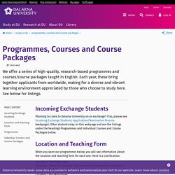 Programmes, Courses and Course Packages - Dalarna University