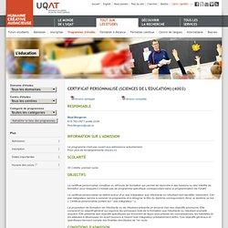 Certificat personnalisé (sciences de l'éducation) (4003)