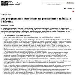 Les programmes européens de prescription médicale d'héroïne