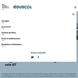 Programmes et ressources en langues vivantes - voie GT
