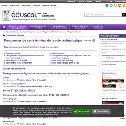 Programmes du lycée voie technologique