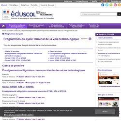 Programmes du lycée - Programmes du cycle terminal de la voie technologique