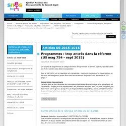 Programmes : trop ancrés dans la réforme (US mag 754 - sept 2015)