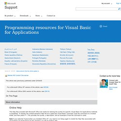 VBA : Ressources de programmation pour Visual Basic pour Applica