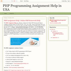 PHP Programming Assignment Help in USA: PHP Assignment Help
