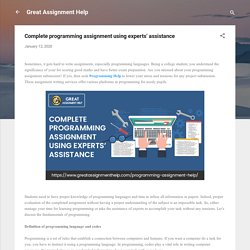 Complete programming assignment using experts' assistance
