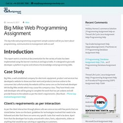 Big Mike Web Programming Assignment