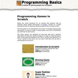 Programming Basics: Programming Games in Scratch