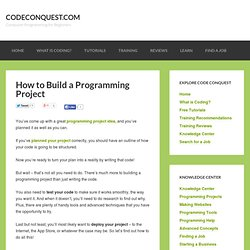 How to Build a Programming Project – CodeConquest.com