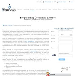 Programming Companies in Lebanon, Programming Services