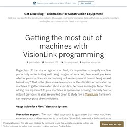 Getting the most out of machines with VisionLink programming