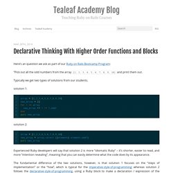 Ruby Programming: Declarative Thinking with Higher Order Functions and Blocks