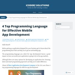 4 Top Programming Language for Effective Mobile App Development